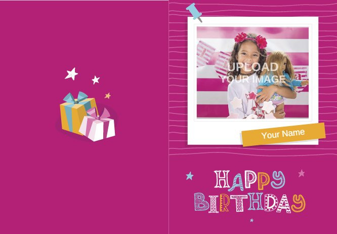 Pink Girlish Birthday card