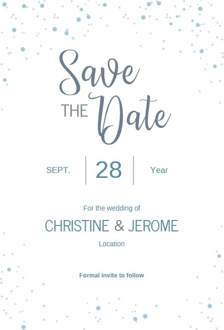 Snow Wedding Save the Date
