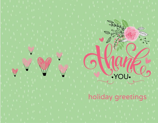 Green Clip Arts Valentie's Day Thank you Greeting Card