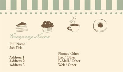 Business card templates bakery beige and green striped bakery reheart Gallery