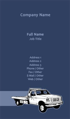 Business card templates towing blue tow truck colourmoves