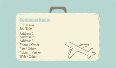 Business card templates aviation suitcase and plane colourmoves