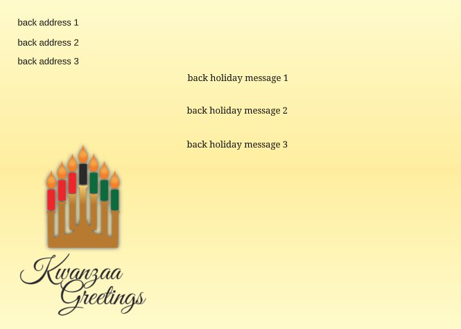 Kwanzaa Greetings Kinara Candles Back thumbnail image