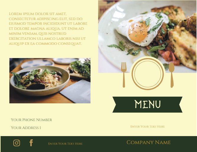 Restaurants Brochure Menu
