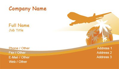 Business card templates aviation orange and white travel accmission Image collections