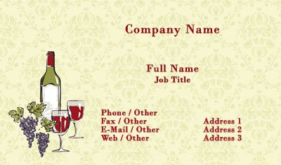 Business card templates wedding wine and grapes illustration colourmoves