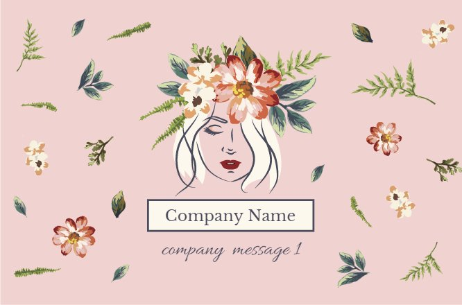 Pink Flower Chaplet Beauty Salon Business Card Back thumbnail image