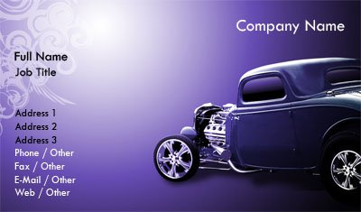 purple hot rod - Car Wash Business Cards