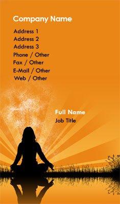Business card templates yoga orange meditation silhouette reheart Choice Image