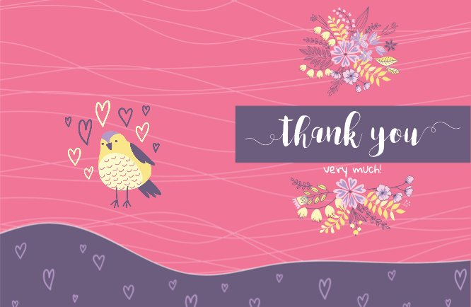 Pink single bird loves you Thank you greeting card