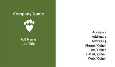 Business card templates child care white and green veterinary colourmoves