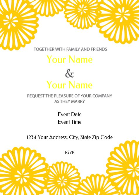 Yellow Flowers Wedding Invitation