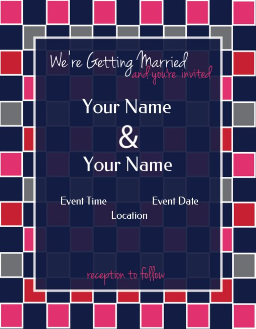 Checker Wedding Invitation