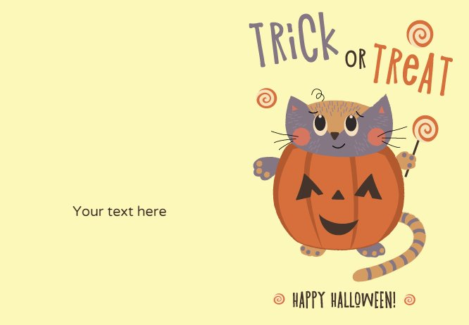 trick or theat kitten card