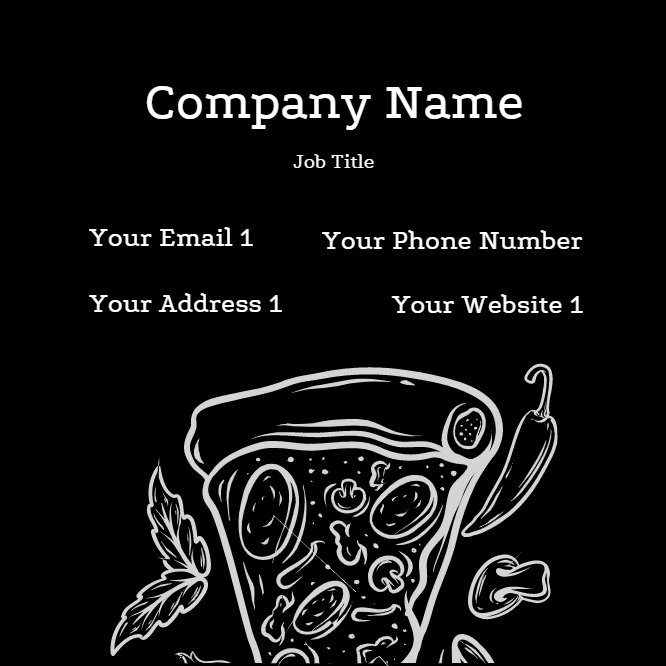 Pizzeria Business Card Black