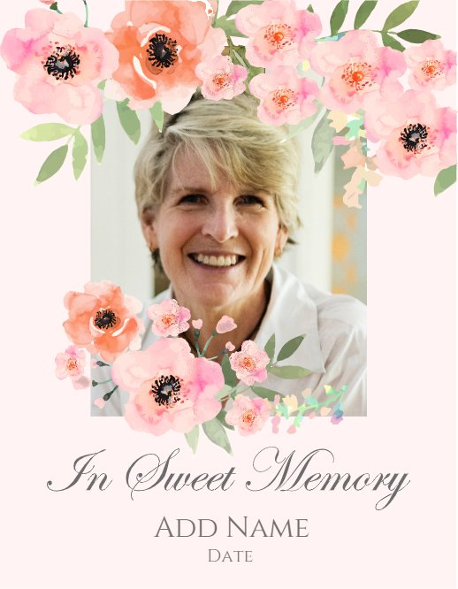 In Sweet Memory Pink Flower Card
