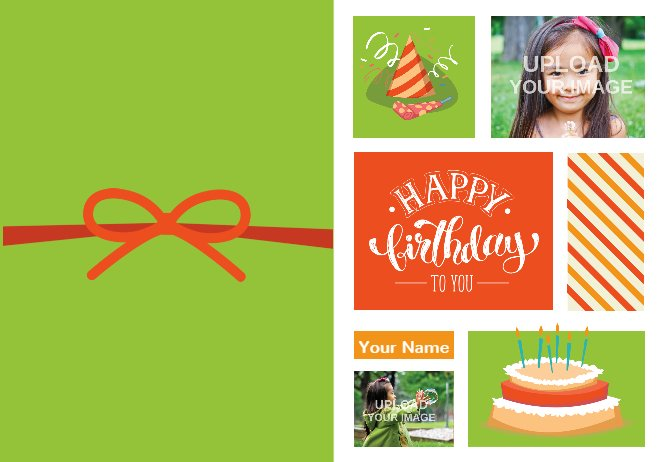 Green birthday card with red bow