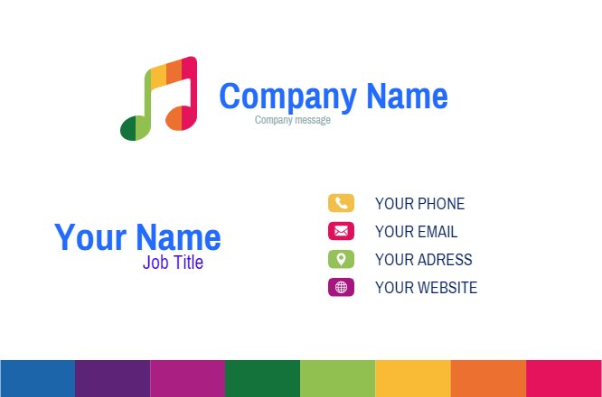 Colored Melody business card