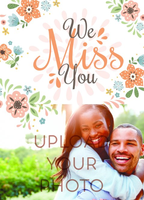 We Miss You floral Postcard 5x7