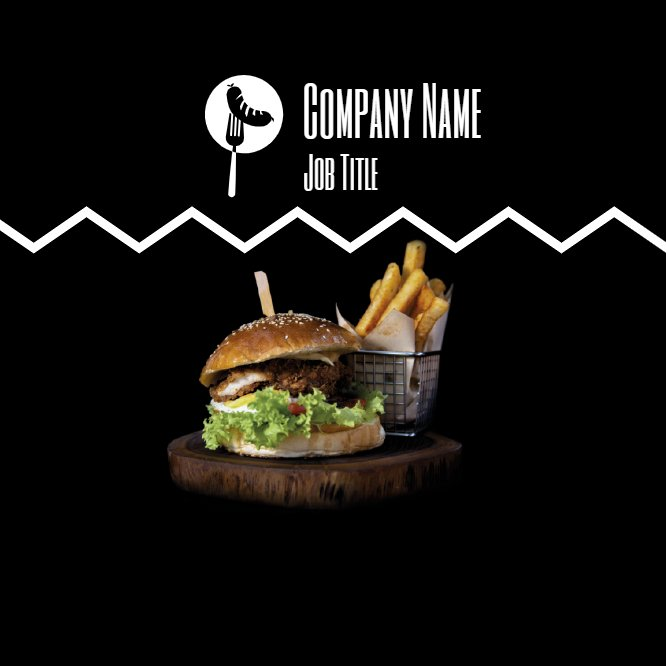Black Burger Business Card Back thumbnail image