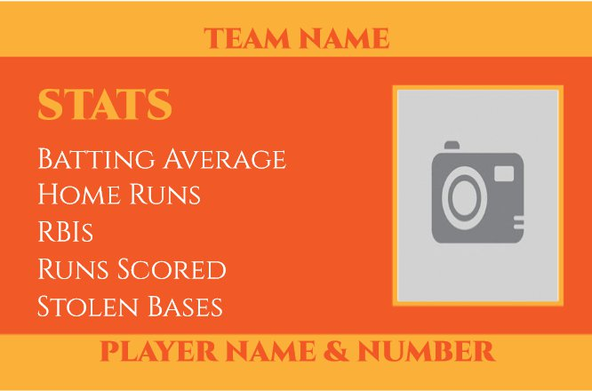 Baseball Trading Card - Orange Hitter