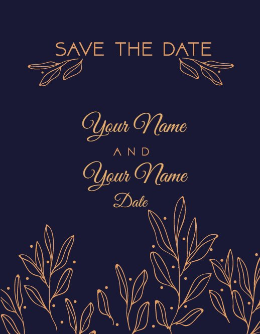 blue and gold wedding greeting