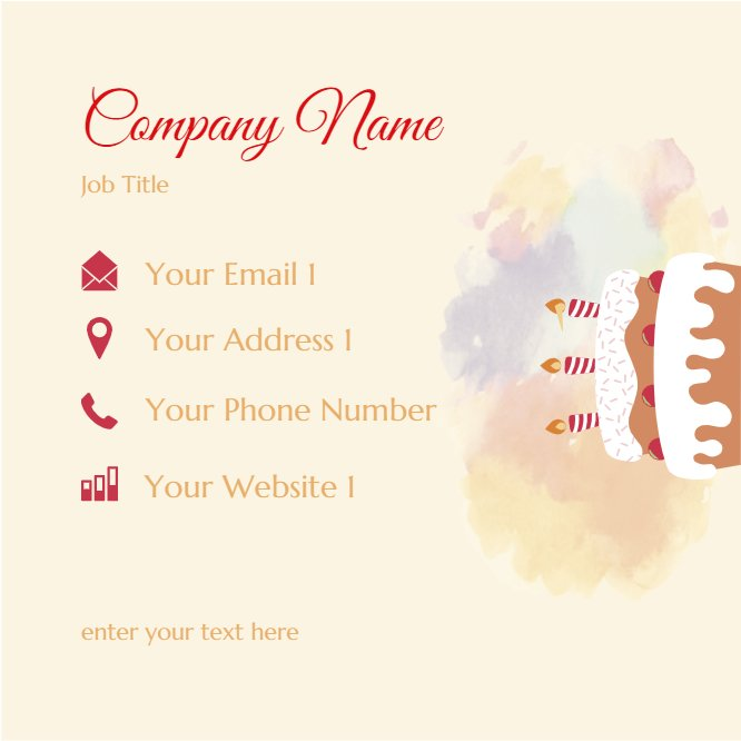 Cake Bakery Business Card