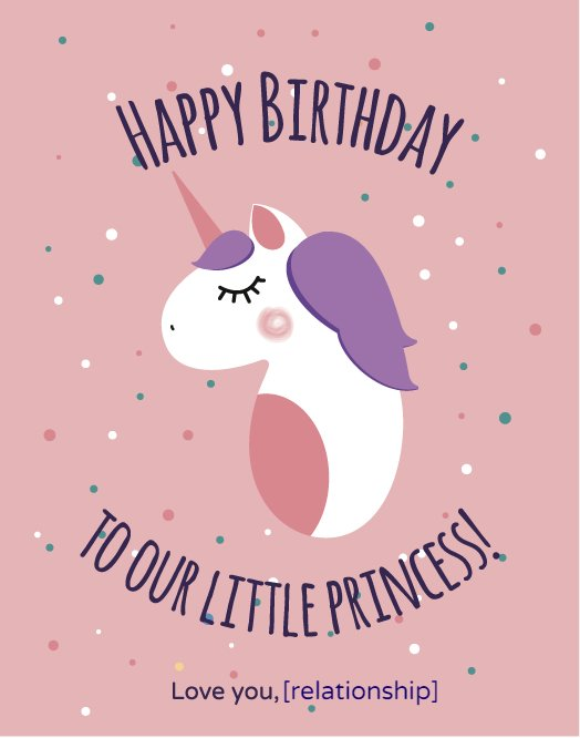 Princess Unicorn Greeting