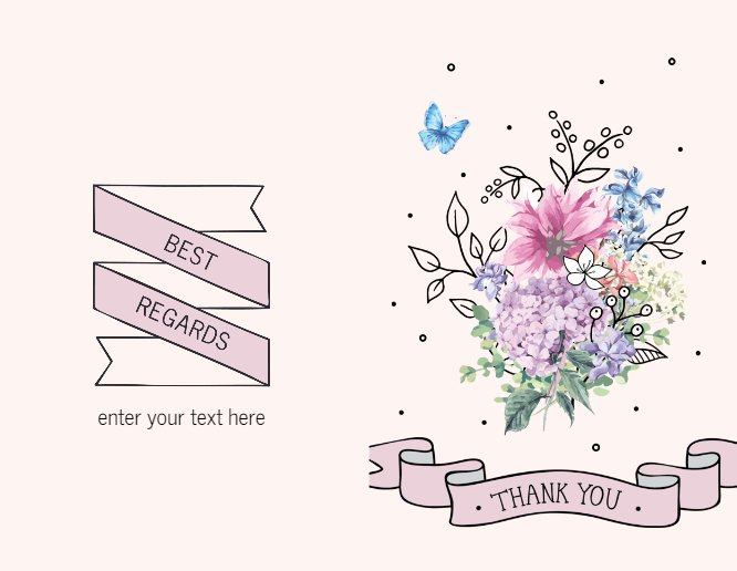 Pink Thank you flowers and butterflies Greeting card