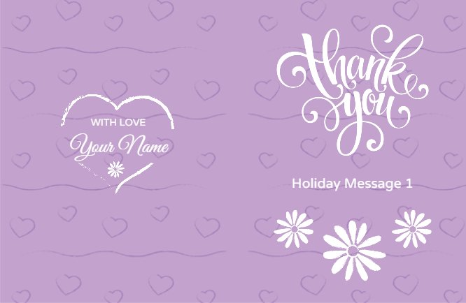 Purple thank you flowers St.Valentine Day Greeting Card