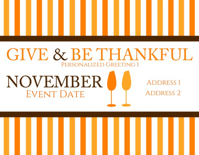 Give & Be Thankful Thanksgiving Party Invitation