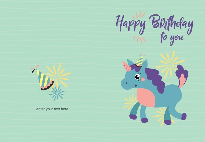 Green birthday Unicorn