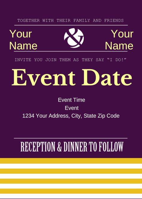 Purple and Yellow Wedding Invitation