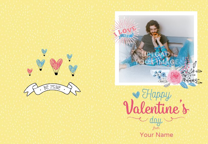 Yellow Clip Arts Valentie's Day Greeting Card