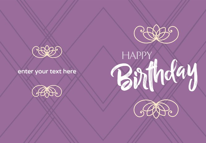 Simple purple birthday card