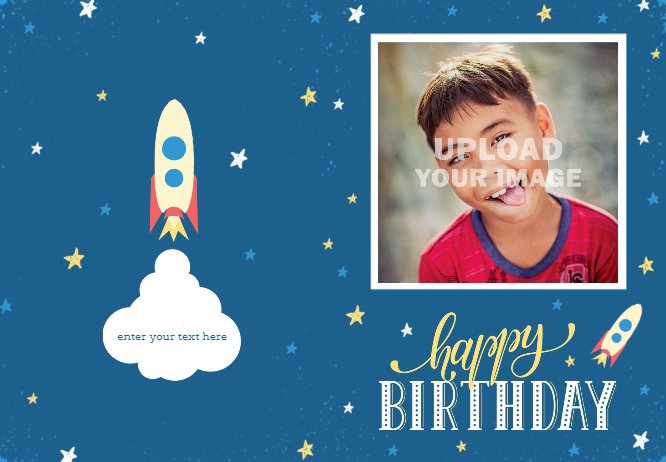 Blue rocket birthday card