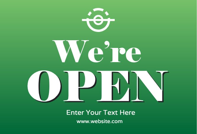 We're open green postcard
