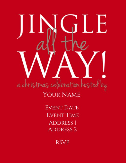 Jingle All The Way Christmas Invitation