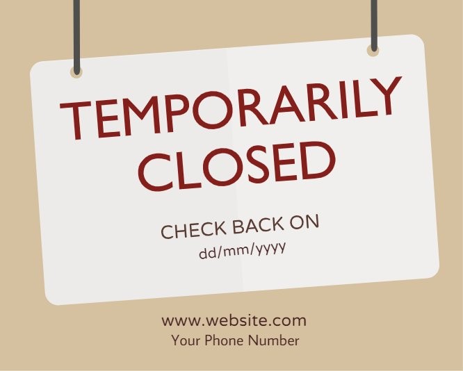 Temporarily closed signboard