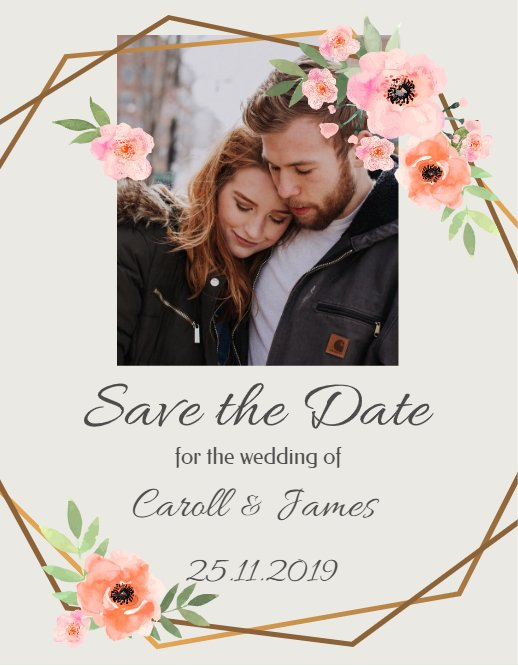 Flowers Save The Date Card