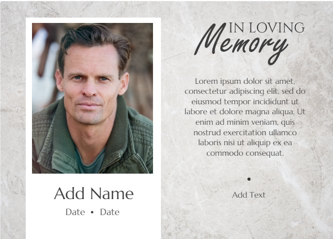 In Loving Memory Grey Marble Funeral Card
