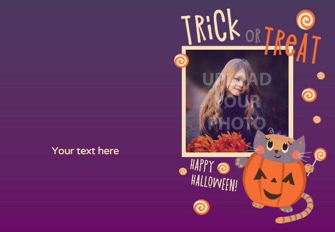 trick or theat kitten purple card with photo