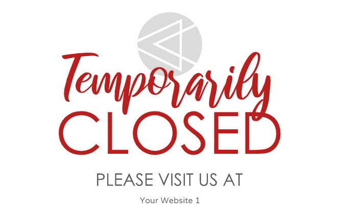 Temporarily closed red text